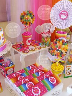 Mickey and Minnie Mouse rainbow birthday party candy! See more party ideas at CatchMyParty.com!