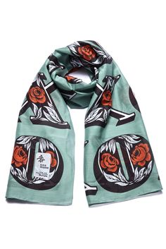 With hugs and kisses - colorful scarf printed on a fine cotton-silk blend.