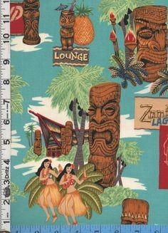 Henry Tiki Island Hawaiian Bar Drinks blue - Retro / Psychedelic, Musical Fabrics