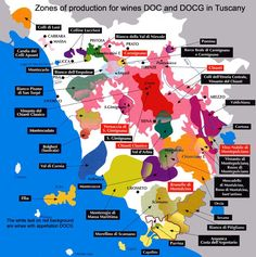 """[Map] """"Zone of Production for Wines DOC and DOCG in Tuscany (Italy)"""" Courtesy by Fisar.org"""
