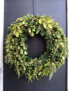 Modern Chartreuse Christmas Wreath.