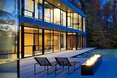 Modern Terrace with Outdoor Fire-Pit Detail.