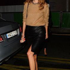 skirt leather skirt fashion week 2014 streetstyle camel alexa chung