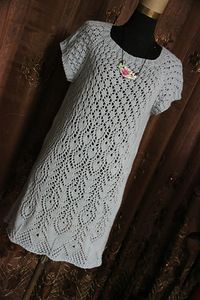 Китайский павлин - ажурное платье спицами