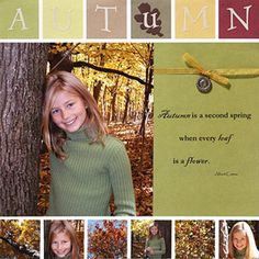 """Use a Punch to Crop Photos for a Simple Scrapbook Page    Design by Kim Jacobs    To pack her layout with fall photos, Kim cropped six supporting shots into 1-7/8"""" squares and lined them up across the bottom of her scrapbook page."""