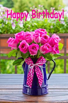 Photo about Bouquet of pink roses in a blue enamel jug with a bow of pink ribbon outdoors, text, happy birthday. Image of plant, text, congratulations - 51933227 Birthday Wishes For Kids, Happy Birthday Wishes Cards, Happy Birthday Flower, Happy Birthday Friend, Birthday Blessings, Happy Birthday Pictures, Happy Birthday Cakes, Birthday Fun, Birthday Cards