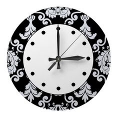 black and white damask wall clock made of high quality clear acrylic decorate your walls