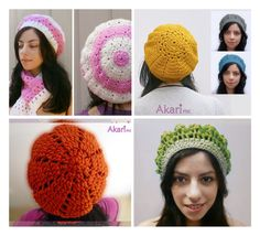 25% OFF 1 Patterns FREE. 4 Crochet Berets Patterns Pack. Easy to intermediate skill_ PKBOI by AkariCrochetPatterns Find it now at http://ift.tt/1SYsO4M!