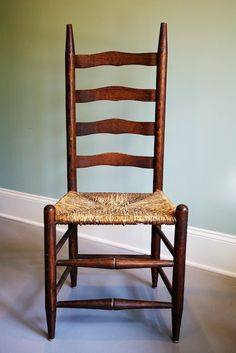 Ladder Back Chairs for the kitchen Woven Dining Chairs, Old Chairs, Antique Chairs, Patio Chairs, Dining Room, Colonial Furniture, Primitive Furniture, Repurposed Furniture, Antique Ladder