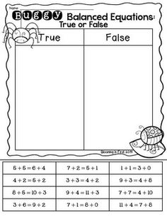 true or false equations first grade - Google Search | Common Core ...