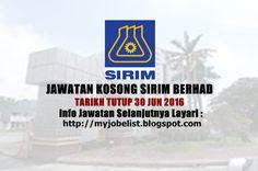Jawatan Kosong Terkini di SIRIM Berhad - 30 Jun 2016  Jawatan kosong terkini di SIRIM Berhad Jun 2016. Permohonan adalah dipelawa daripada warganegara Malaysia yang berkelayakan untuk mengisi kekosongan jawatan kosong di SIRIM Berhad sebagai :1. ASSISTANT DESIGNER SECURITY DESIGN DEPARTMENTDEPARTMENT2. ASSISTANT DESIGNER PACKAGING DESIGN3. SENIOR EXECUTIVE4. EXECUTIVE (MARKETING) Tarikh tutup permohonan 23 - 30 Jun 2016 Lokasi : Selangor Sektor : Berkanun  SIRIM is a premier industrial…