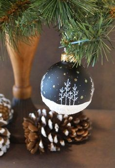Our Most Popular Design - Aspen Snow Scene with Snow falling and Glitter, Night Black Hand Painted Glass Christmas Ornament, Great Gift on Etsy, $11.00