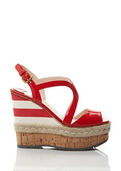 Prada Red/White Striped Platform Espadrille
