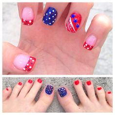 4th of July patriotic nails and toes