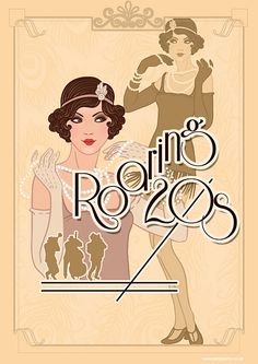A 1920's themed Poster, a great decorational piece for your 1920's themed party. Perfect for a 20s costume or roaring 1920s themed party, vintage fancy dress, NYE party, showgirl, flapper, gangster, great gatsby party, Bugsy Malone party