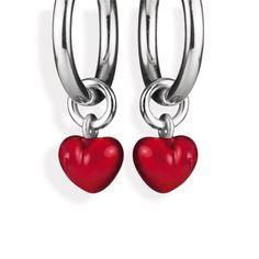 Style & Go, Herz Einhänger für Creolen aus Silber mit Brandlack.