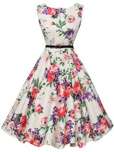 Belted Flower Pirnt Fit & Flare Dress