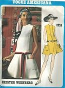 An original ca. 1970 Vogue Pattern 2352.  Vogue Americana - Misses' One-Piece Dress. Loose-fitting low-waisted dress has flared skirt, with jewel neckline and flange at front of sleeveless armhole. Patch pockets and attached contrast bias belt.