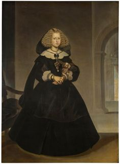 Mariana of Austria, Queen of Spain was the second wife and niece of Felipe IV of Spain. Only two of their children, Margaret Theresa and Carlos II of Spain, survived to adulthood, likely due to inbreeding. Austria, Fernando Iii, Spanish Netherlands, Spanish Royalty, Maria Theresa, European Dress, Spanish Fashion, Japanese Aesthetic, Classic Paintings