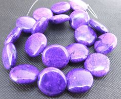 gemstones Loose 20mm coin purple turquoise beads stone by diygem, $4.85