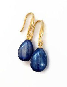 Navy Blue Earrings Deep Blue Stone Earrings Brazilian by AinaKai