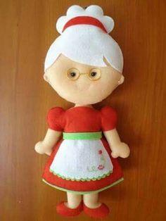 Mamãe Noel em feltro com molde