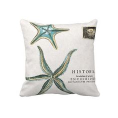 Turquoise Starfish pillow cover, perfect for your beach house!    >>>100% cotton front  >>>18, 20, 22 sizes available  >>>burlap back  >>>cotton back