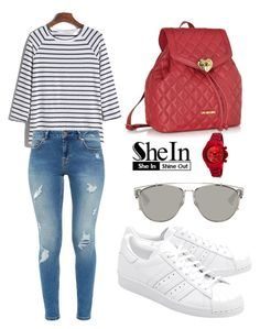 """""""SHEIN T-Shirt"""" by tania-alves ❤ liked on Polyvore featuring Ted Baker, Love Moschino, adidas Originals and Christian Dior"""