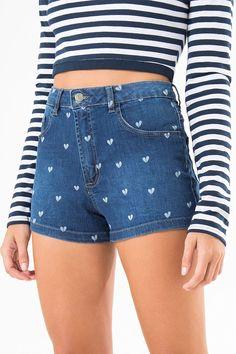 short cintura alta coracao poa | FARM