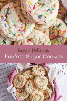 Easy funfetti sugar cookies full of fun bright sprinkles. Funfetti Cookie Recipe, Funfetti Cookies, Cookie Flavors, Cookie Recipes, Sugar Cookie Cakes, Sprinkles, Vegetarian, Bright, Breakfast