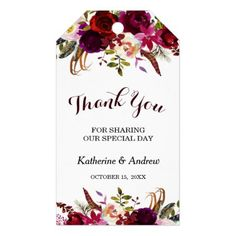 Burgundy Marsala Floral Autumn Wedding Thank You Gift Tags - autumn wedding diy marriage customize personalize couple idea individuel