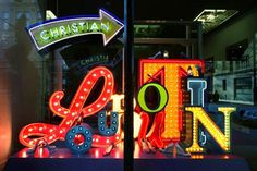 Show-stopping window installation of neon typography designed by Studio XAG in London for Christian Louboutin . Fashion Window Display, Window Display Retail, Window Display Design, Window Displays, Retail Windows, Store Windows, Christian Louboutin Store, Custom Neon Signs, Retail Design