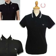 Fred Perry Twin Tipped Girls Polo Shirt- BLACK/SNOW WHITE