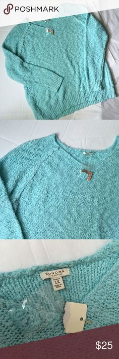 Sonoma 1X Sweater!NWT Sonoma new with tags sweater! Soft and warm! Very pretty mint blue color! 26 inches long. Chest measuring across 24 inches! Great for fall and winter! Sonoma Sweaters Crew & Scoop Necks