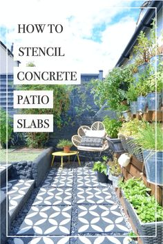 If you have some old and worn paving slabs in your garden and you want to spruce them up, then this post is for you! I'm going to teach you how to stencil concrete patio slabs…patio makeover, patio transformation! #stencilledpatio #howtostencil #stencilling #stencilpavingslabs #patiomakeover #stencil #gardendiy #patiomakeover