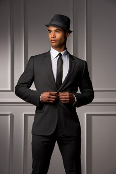 Mens dark grey suit and fedora. Laura Barker · Wedding hats for Andrew 19806e6a091