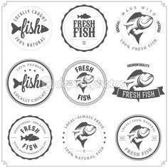 набор с рыбой марок, этикеток и значки — Стоковая иллюстрация #22331483