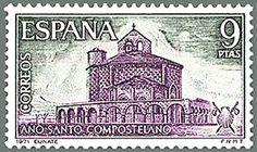 En los años setenta del siglo pasado Eunate alcanza la cumbre de su popularidad. Correos, entonces empresa pública estatal edita un sello conmemorativo del Año Santo Compostelano con su silueta.
