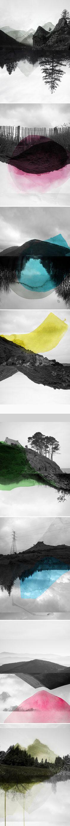 pour l'idée d'un paysage en noir et blanc avec une tache de couleur qui aura coulé (le paysage pourrait être la plage ou un fleuve ou une ville communiste)