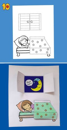 Good Night Printable Craft - Simple and fun activities for kids - Paper Crafts For Kids, Crafts For Girls, Preschool Crafts, Fun Crafts, Diy And Crafts, Craft Kids, Fun Activities For Kids, Art Activities, Libros Pop-up