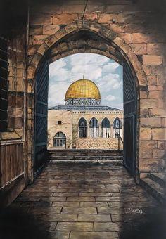 Islamic Art Canvas, Islamic Paintings, Battle Of Karbala, Islamic Wallpaper Hd, Palestine Art, Mosque Architecture, Dome Of The Rock, Beautiful Mosques, Islamic World
