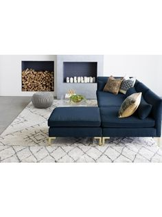 Alaina Velvet Sectional, Navy - Only long? Maybe this would work. Blue Couch Living Room, Living Room Sectional, Living Room Grey, Rugs In Living Room, Interior Design Living Room, Living Room Designs, Living Room Decor, Blue Sectional, Navy Couch