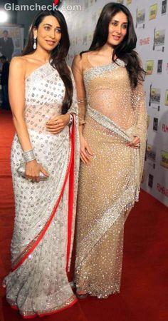 Glitter saree. Karishma and Kareena kapoor