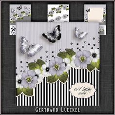 Vintage Stripes Flowers soft purplegrey 1103 by Gertraud Lueckel Beautiful 7.5 inch card topper with stripes butterflies and wild roses.    Base butterflies and sentiments    decoupage    insert and a note card 325 inch    sentiment tags Happy Birthday With Love A little note and one blank