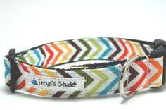 Custom Chevron Collar - The Retro Rainbow- Wild Geometric Dog Collar. $16.50, via Etsy.