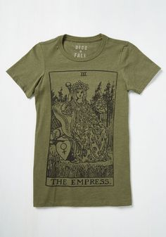 Dressed to Empress Graphic Tee. Form a deep connection with your proclivity for royalty by sporting this olive green T-shirt. #green #modcloth