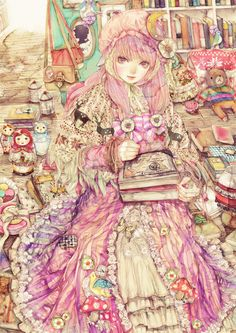 Reminiscent of a children's book illustration from the turn of the last century. Note the matryoshka dolls on the left. Anime Art Girl, Manga Art, Manga Anime, Anime Girls, Illustrations, Illustration Art, Character Art, Character Design, Fanart