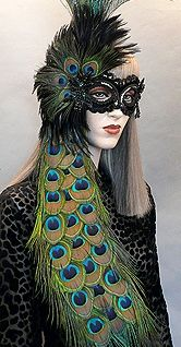 Cassandra Masquerade high fashion, elegant mask designed and created by famous artist Alexis Seepo. #peacock feathers