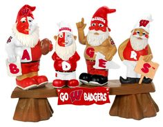 Wisconsin Badgers Garden Gnome - Fans on Bench 0429145a74d0