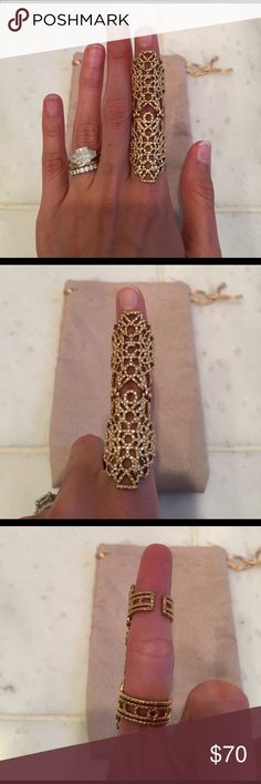 Gold Pave Cuff Ring Beautiful and unique long cuff finger ring. Size 5-6. Pure hard from BCBG. In perfect condition. Only worn once to a wedding. BCBGMaxAzria Jewelry Rings